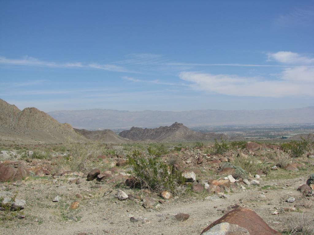 """""""This was looking back down the trail from the last cache. Indio is in the distance and the Salton Sea on the right side in the distance. """""""