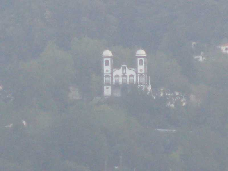 view of the church from the ship that was part of Puzzle cache
