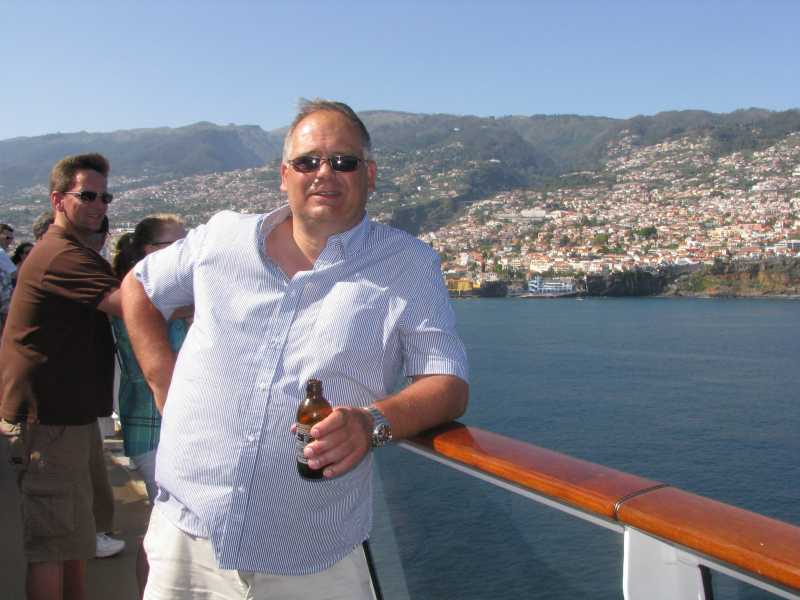 Having a Red Stripe from Jamaica as we sail away from Funchal